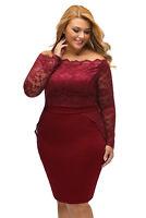Plus Size Classy Wine Red Floral Lace Off Shoulder Dress Size 16-20