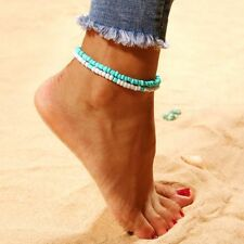 Jewelry Summer Blue White Multilayer Resin Beads Anklets Foot Chain Bracelet