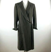 Giorgio Armani Womens 10 Wool Cashmere Herringbone Brown Long Swing Coat Vintage