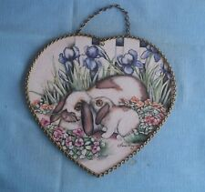 Vintage Gallery Graphics Heart Shaped Flue Cover Rabbits Laurie Korsgaden Chain