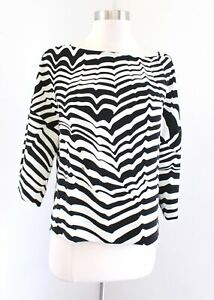 Trina Turk Black Off White Geometric Striped Printed 3/4 Sleeve Top Blouse Sz M