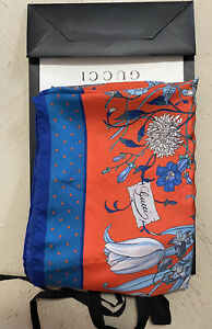New $495 Gucci Women Flora Stage Silk shawl Scarf Red/Multicolor Italy