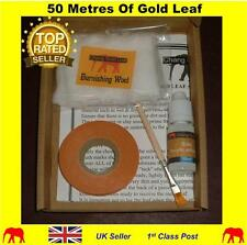 50m x 1cm Roll Of Gold Leaf + Size Glue + Gilding Brush For Nail Art Design Kit