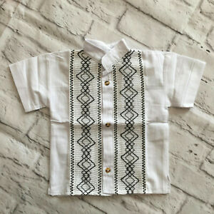 Handmade Boys White Mexican Guayabera Shirt Sizes 2 4 6 8 10 Camisa de Niño
