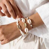 3Pcs/Set Elegant Beach Women Cowrie Shell Stone Charm Bracelet Bangle Jewelry Pr
