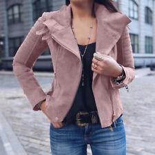 Ladies Women Jacket Polyurethane Leather Coat Plus size Outwear High Quality