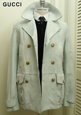 New GUCCI leather jacket pea coat military double breasted rare white slim  fit M 638ec5a87