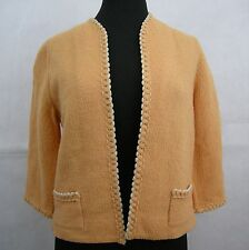 Butte Knit Women's Vintage 60s 70s 100% Pure Wool Mod Sweater Jacket Orange