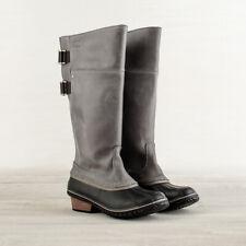 NIB Women's Sorel Slimpack RIding Tall Grey Leather Snow Boots II Pebble 7 $215