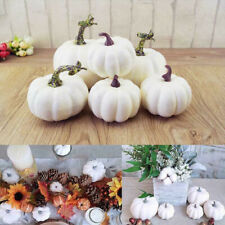 6x White Artificial Pumpkins Harvest Thanksgiving Fall Halloween Decorations New