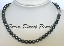 """16"""" Genuine 8-9mm Peacock Black Pearl Strand Necklace Cultured Freshwater"""