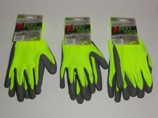 3 Pair Safety Work Hi Vis Foam Rubber Honey Comb Latex Coating One Size Non Slip