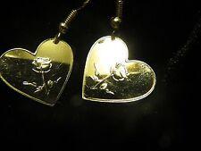 .999 SILVER HEART W/ ROSE 1 GRAM EARRINGS 925 HOOKS (NO SCRAP) BULLION U.S.MADE