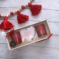 Rae Dunn Valentines Day Candle Set w/ Air Freshener Red Love You Be Mine, Always