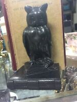 """Vintage Pot Metal Owl on Book Book End 5"""" Tall"""