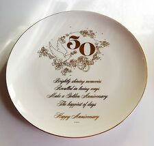 50th Anniversary Commemorative Plate by WWA - Vintage 1975 - Golden, Doves, Rose