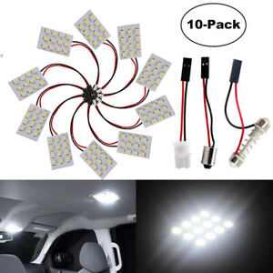 10x 12SMD 1210 LED Panel Lamp T10 Car Reading Lights Festoon Dome Adapters C5W