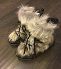 Women's Oscar Anet Short Ecol After Ski Fur Boots Grey New Italy Size 6 Euro 36