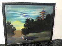 "Vintage Original Japanese Painting Mixed Media On Silk Framed 16x13.5"""