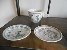 Shinzi Katoh ~ Alice in Wonderland ~ Cup & 2 Small Plates ~ Pink & Blue ~ Mint