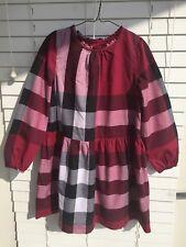 8 Years Authentic Burberry Dress Girl's Bordo Classic Nova Check Long sleeve