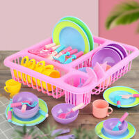1 Set Kids Pretend Kitchen Playset Wash and Dry Tableware Dish Rack Toys Gift