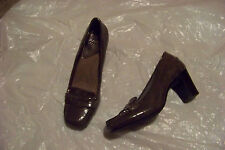 womens mootsies tootsie gray patent square toe penny loafer heel shoes size 6