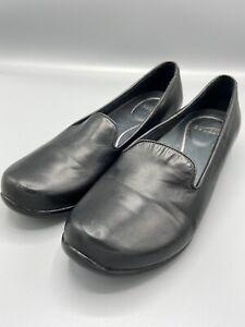 DANSKO Size 40/9 Women's Black Leather Wedge Loafers Shoes 5601020200