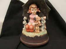 S38 vintage porcelain music box girl umbrella dolls musical instruments pedestal