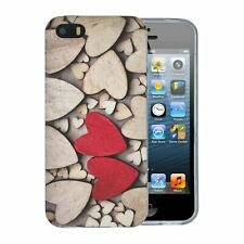 For Apple iPhone 5 5S SE Silicone Case Wooden Love Hearts - S580
