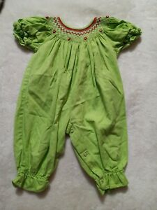 Boutique Baby 6 Months Green Bubble Romper Smocked Holiday b1
