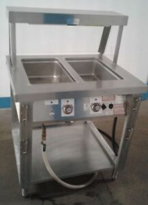 Servolift 2 Well Commercial Food Steam Table. w/Breath Guard & Heat Lamp.