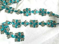 1mtr Beaded Teal Green Flower Lace Trim Sewing Dress Costume Fabric Craft Gems