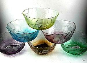 6 Pieces Glass Bowels Jam Bowl Small Bowl Dessert Dish 4 7/8in Colour Cheap
