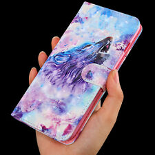 3D Roaring Wolf  Multi-function flip Card slot wallet Leather Phone case cover