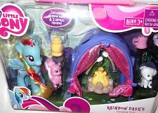 ~*Rainbow Dash's Camping Trip* G4 My Little Pony Lot Puppy Pet Tent NRFB MIB MLP