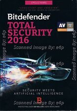 BITDEFENDER TOTAL SECURITY 2016 3 PCS 2 YEARS BRAND NEW FACTORY SEALED RETAIL!!!