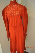 Vtg 70s POINTELLE KNIT Rust Midi SWEATER Dress  Cinch tie waist Large