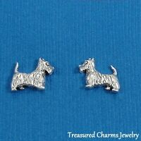 .925 Sterling Silver SCOTTY DOG Scottish Terrier Post Stud EARRINGS
