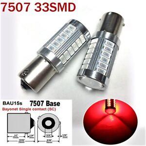 2pcs Red Front Turn Signal Light BAU15S 7507 PY21W 33 LED Bulb A1 LAX