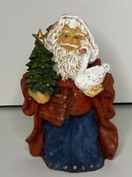 Resin Santa Holding Tree And Goose Christmas Holidays