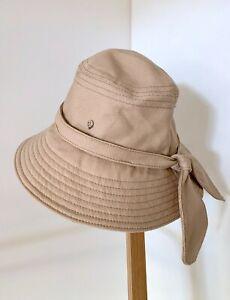 HELEN KAMINSKI oatmeal cotton bucket hat with bow trim | as new
