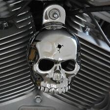 """Show chrome """"bin laden"""" skull horn cover.  Harley Davidson. SKU-CBH-2"""