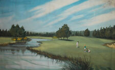 1987 LANDSCAPE GOLF PLAYGROUND OIL PAINTING SIGNED