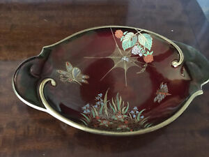 CARLTON WARE ROUGE ROYALE SPIDERS WEB TWIN HANDLED DISH
