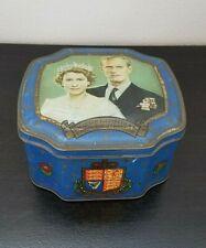 Vintage Queen Elizabeth II and Duke of Edinburgh Coronation 1953 Toffee Blue Tin