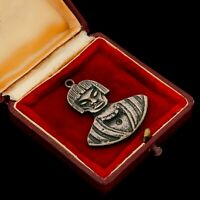 Antique Vintage Deco Mid Century Sterling Silver South American Tribal Pendant