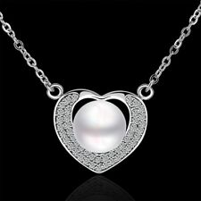 18k 18CT White Gold Filled GF Pearl Crystals Heart Pendant Necklace N540
