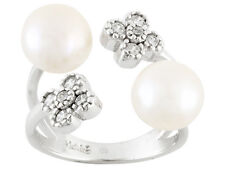 7-8mm White Cultured Freshwater Pearl With 0.11ctw Bella Luce Ring size 6