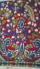 Cotton kalamkari block print fabric - 100 cms length by 43 inches Red Blue Pea